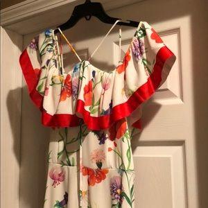 ASOS off shoulder floral hi-lo dress